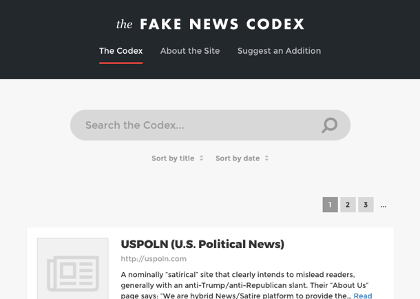 The Fake News Codex Screenshot