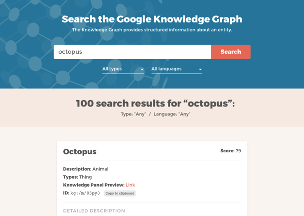 Knowledge Graph Search Screenshot